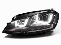 HVWG7HL-B Helix R-Look Headlights with Double U LED - Black Strip, Mk7 Golf / GTi