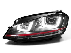 HVWG7HL-R Helix Projector Headlights with Double U LED - Red Strip, Mk7 Golf / GTi