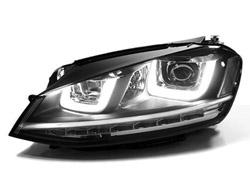 Helix Projector Headlights with Double U LED - Chrome Strip, Mk7 Golf / GTi