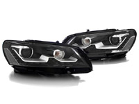 HVWP7HL-LEB Bi-Xenon Projector Headlights w/ LED Strip - Black, B7 Passat