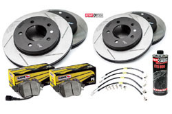Stoptech Slotted Rotor Kit with Hawk Pads, B8 Audi A4/S4/A5/S5