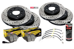 Stoptech_B8-A4-S4-A5-S5 Stoptech Cross Drilled Rotor Kit with Hawk Pads, B8 Audi A4/S4/A5/S5