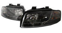 HAUA4B6HL-S5B S5 Style LED Ecode Black Projector Headlights, B6