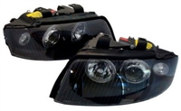 HAUA4B6HL-AEB Black Angel Eye Ecode Projector Headlights, B6