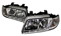 HAUA4B5HL-S5C S5 Style LED Ecode Chrome Projector Headlights,