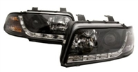 S5 Style LED Ecode Black Projector Headlights, B5