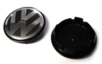 VW Center Cap, Black/Silver (66mm) - Priced Each