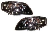 HVWP60HL-S5B Depo S5 Led Style Black Headlights, B6 Passat