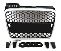 GR-AUA4B7-MS Non S-Line Euro Black Mesh Grille with Satin