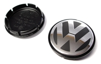 1J0601171XRW VW -Raised- Wheel Center Cap, Black/Silver (55mm)
