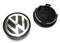 VW Wheel Center Cap, Black/Silver (63mm) - Priced