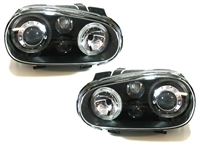 HVWG4HL-AEB-90 Depo Mk4 Golf Angel H/Lamp W/Fog Lamp, Black