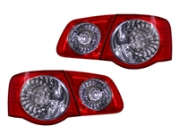 LED European Taillights for MK5 Jetta Sedan - Red / Clear