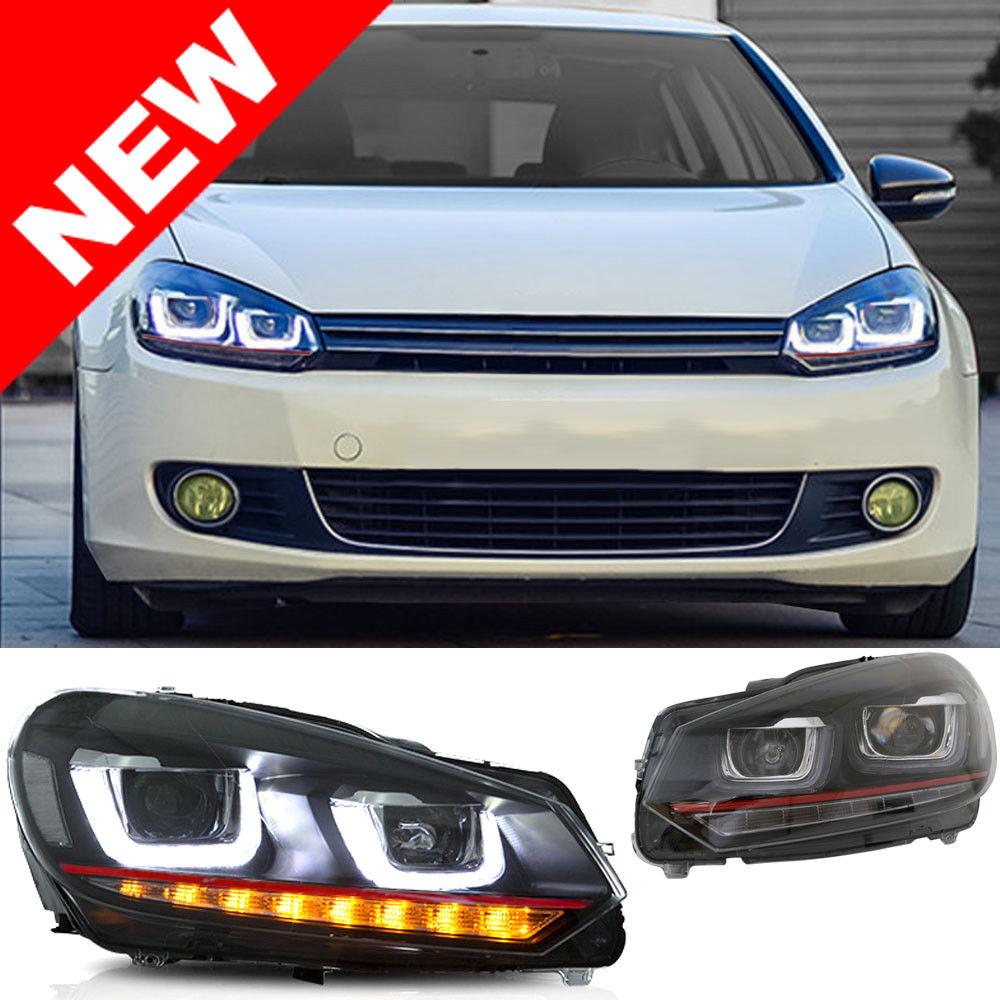 mk7 look led projector headlights w black housing mk6 gti golf w urotuning
